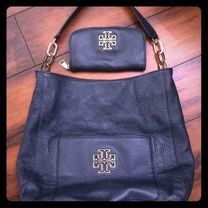 Tory Burch Britten Hobo Bag & Matching Wallet EUC